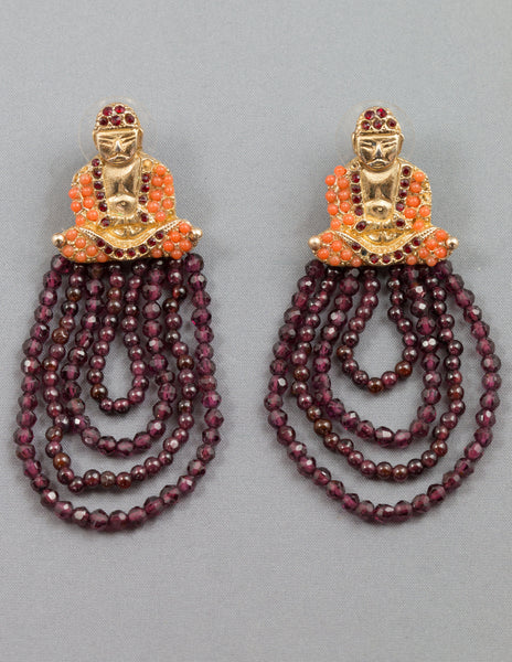 Bountiful Buddha Garnet Earrings