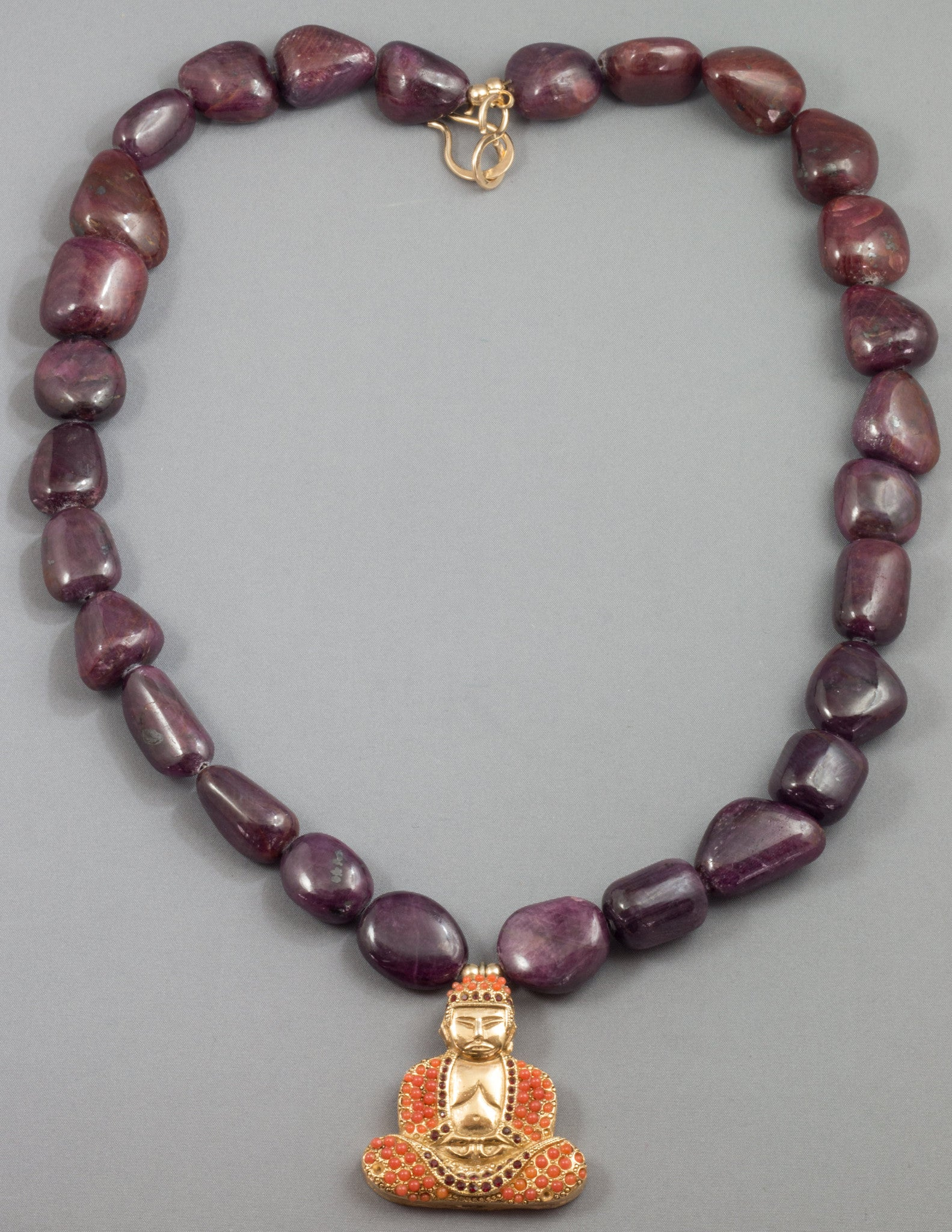 Bountiful Ruby Buddha Necklace