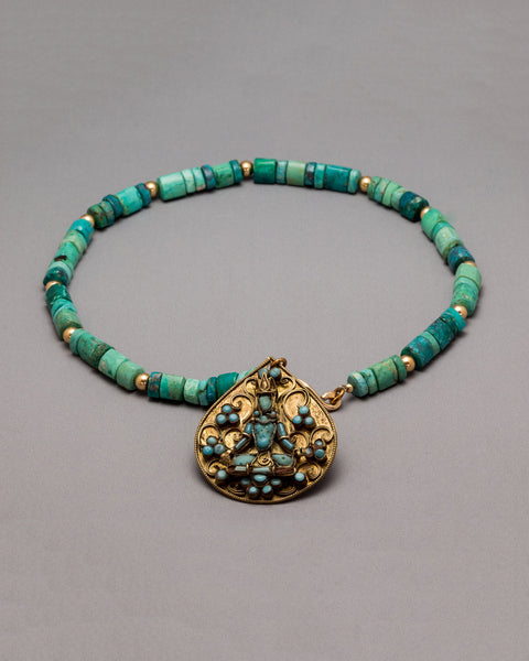 Chrysocolla Buddha With Gold Discs