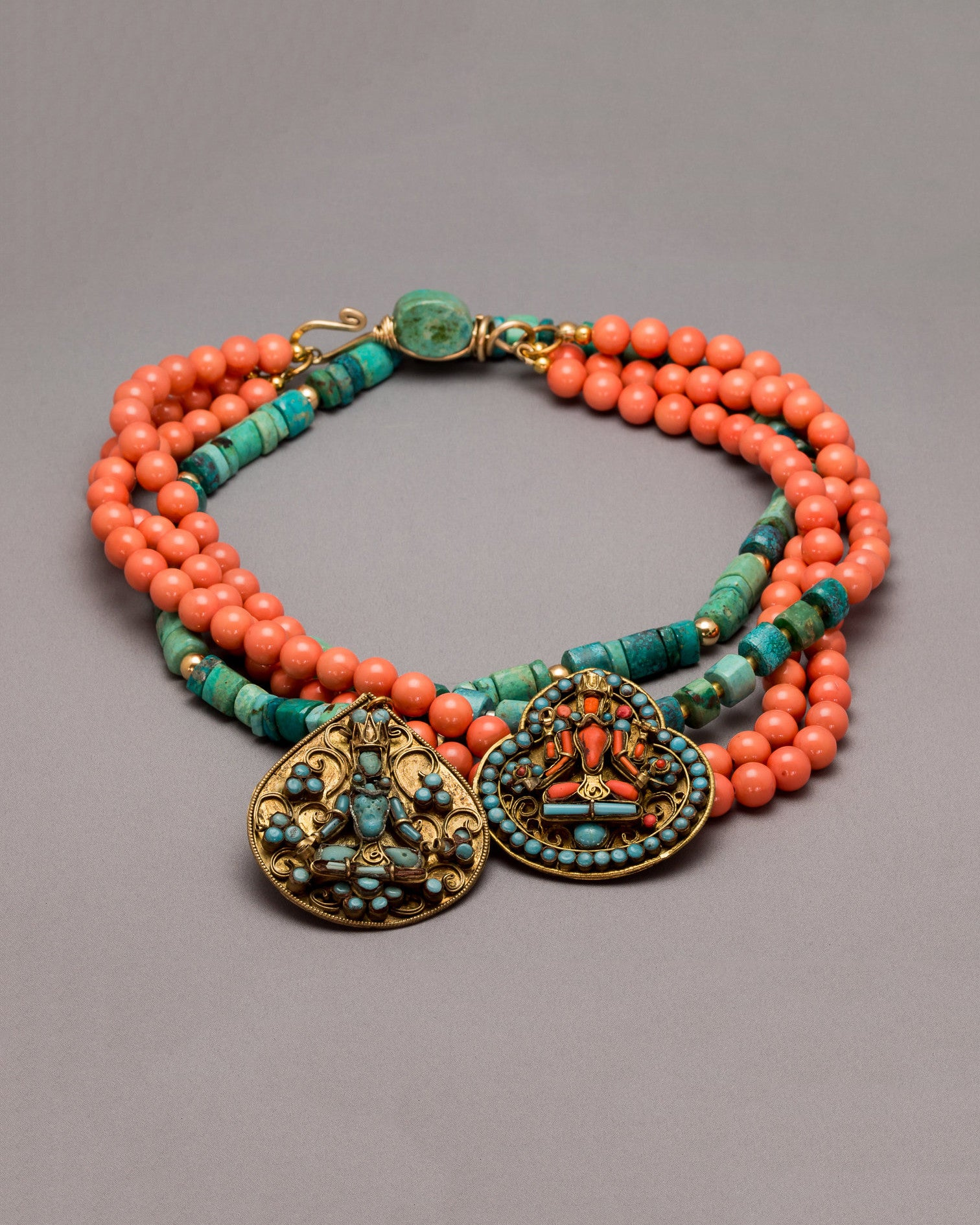 Coral and Chrysocolla Buddha