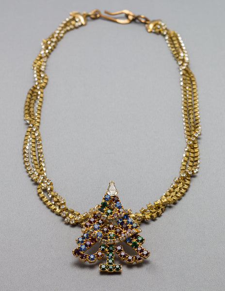 White and Gold Christmas Necklace