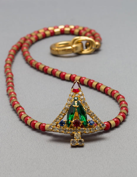 Red and Gold Christmas Necklace
