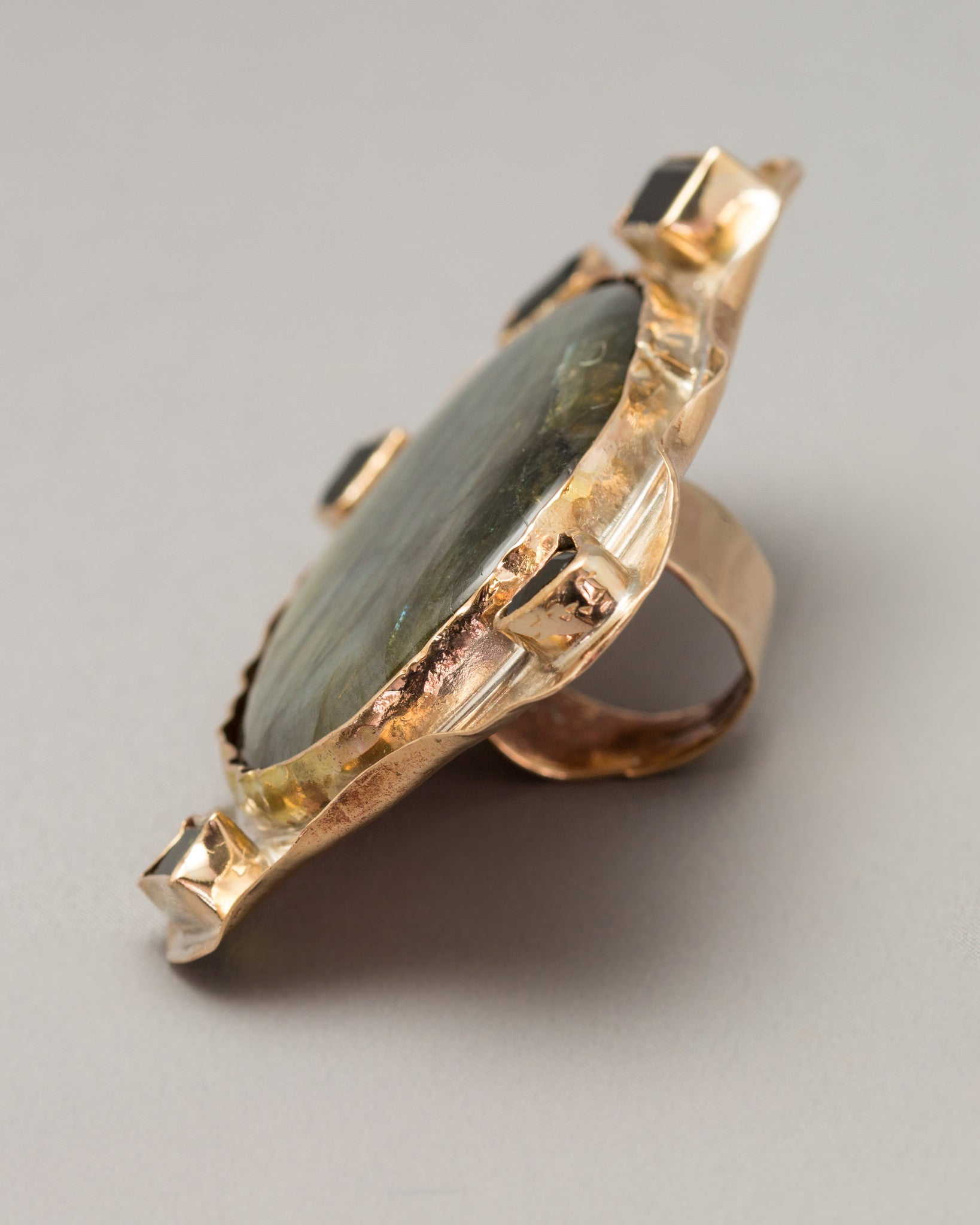 Large Labradorite Ring with Tourmalines