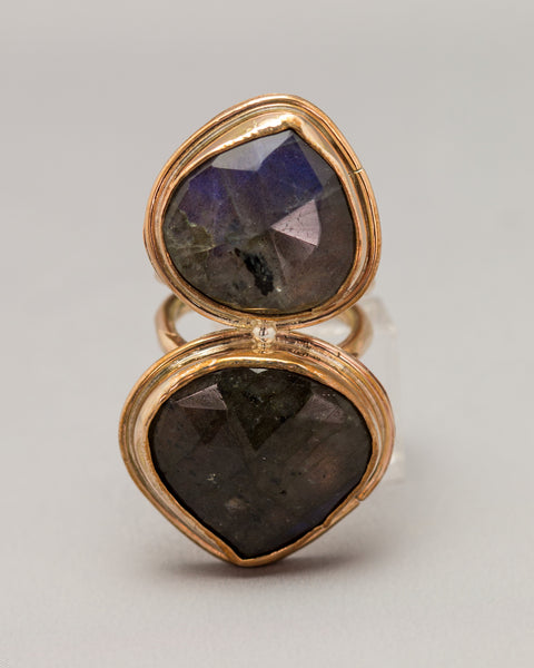 Double Stone Labradorite Ring