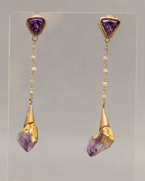 Amethyst Dipped and Drop Earrings