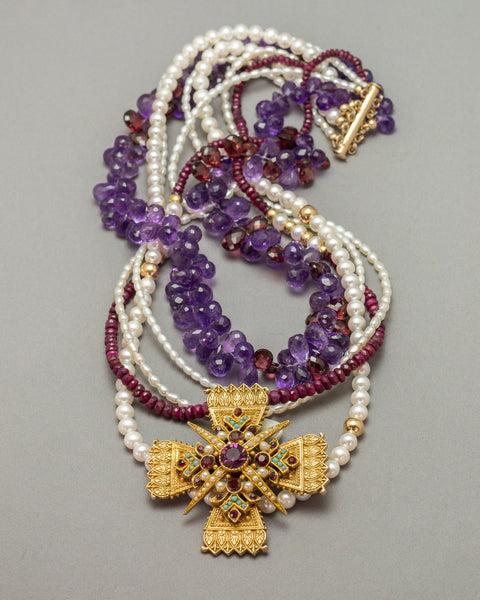 Maltese Cross with Rich Jewel-tones and Pearls