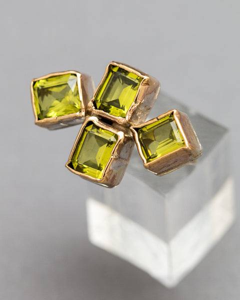 Geometric Peridot Ring