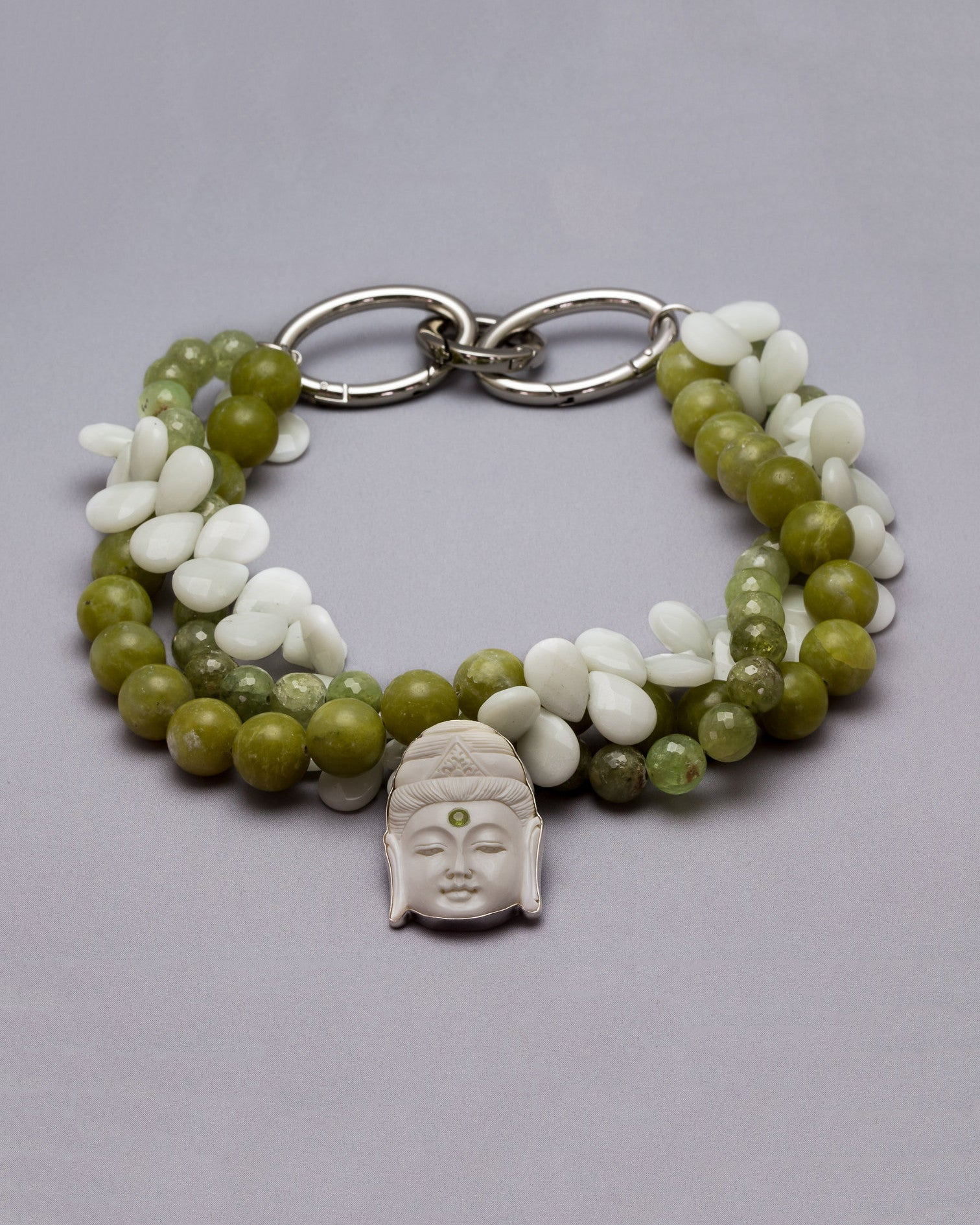 Prayerful Buddha with Peridot Third Eye