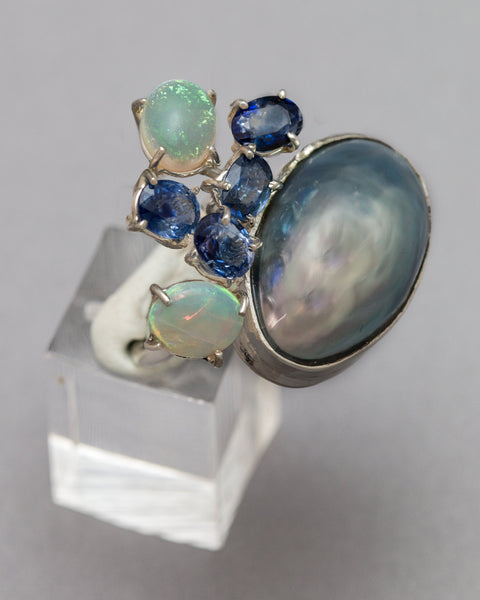 Grey Mother of Pearl Ring with Sapphires and Opals