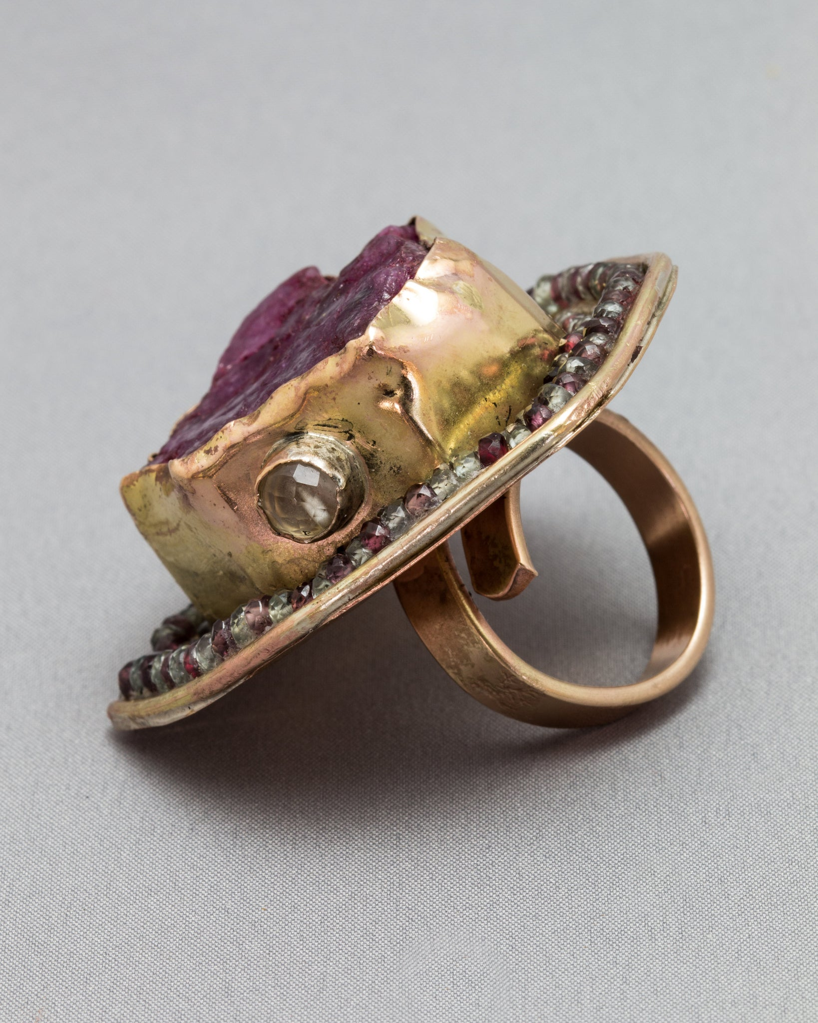 Red Beryl Ring  with Green Amethyst and Multi-Coloured Sapphires