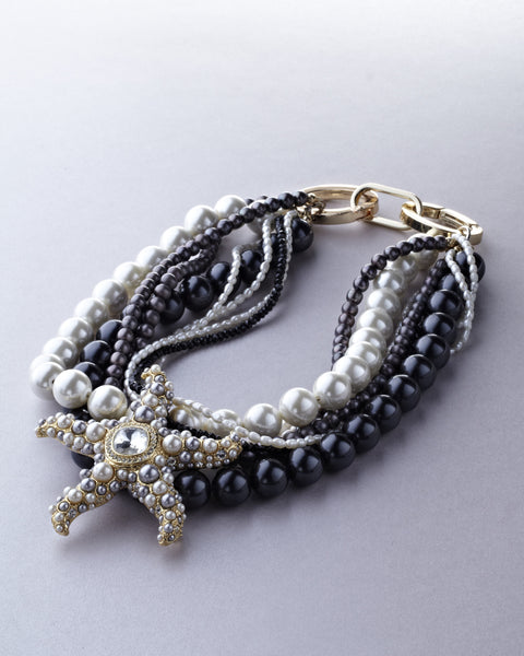 Silver Starfish with Grey Pearls