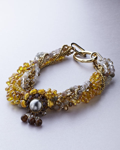 Yellow and Brown Murano Crystal