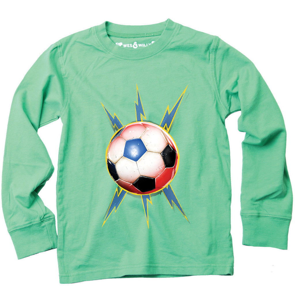 Wes and Willy Soccer Bolt Long Sleeve Tee