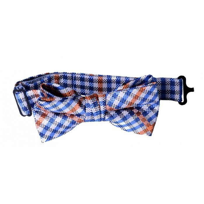 Orange & Blue Plaid Bow Tie