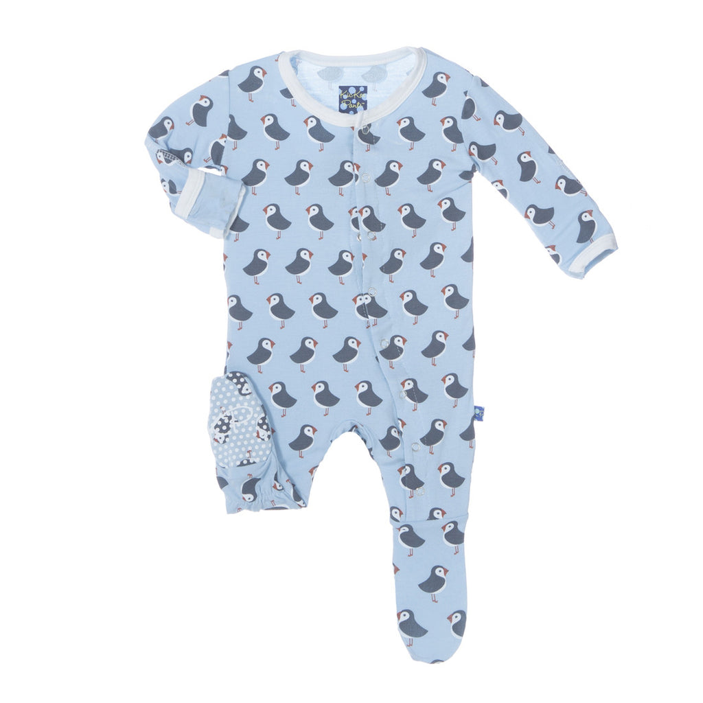Kickee Pants Pond Puffin Print Footie