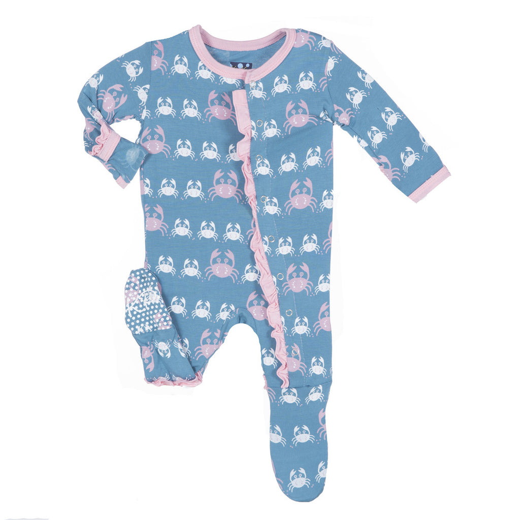 Kickee Pants Blue Moon Crabby Ruffle Footie