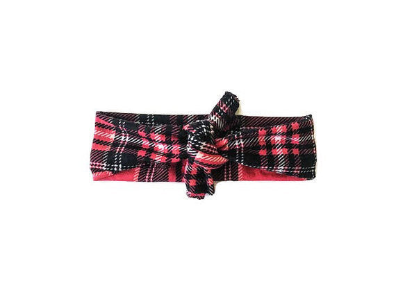 Blue Eyed Baby Couture Red Plaid Headband