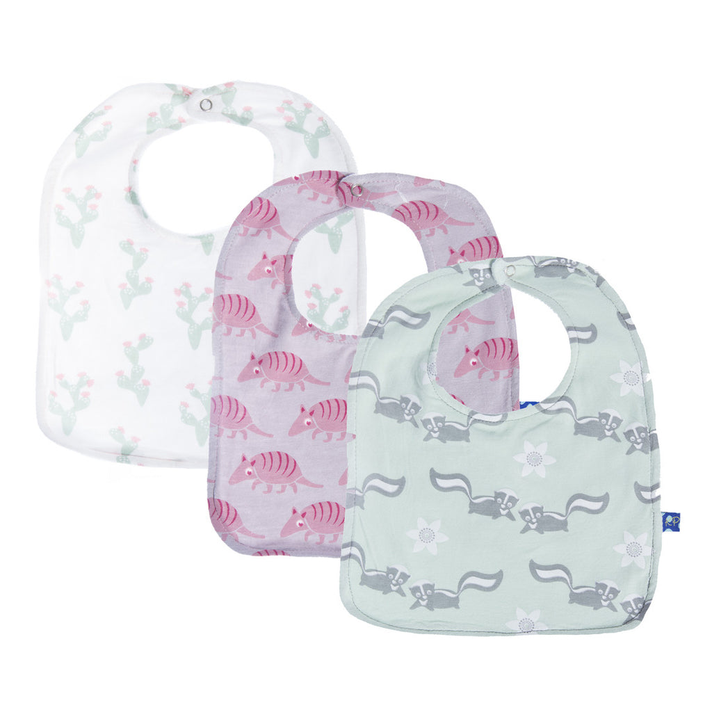 Kickee Pants 3 pc. Cactus Armadillo Skunk Bib Set
