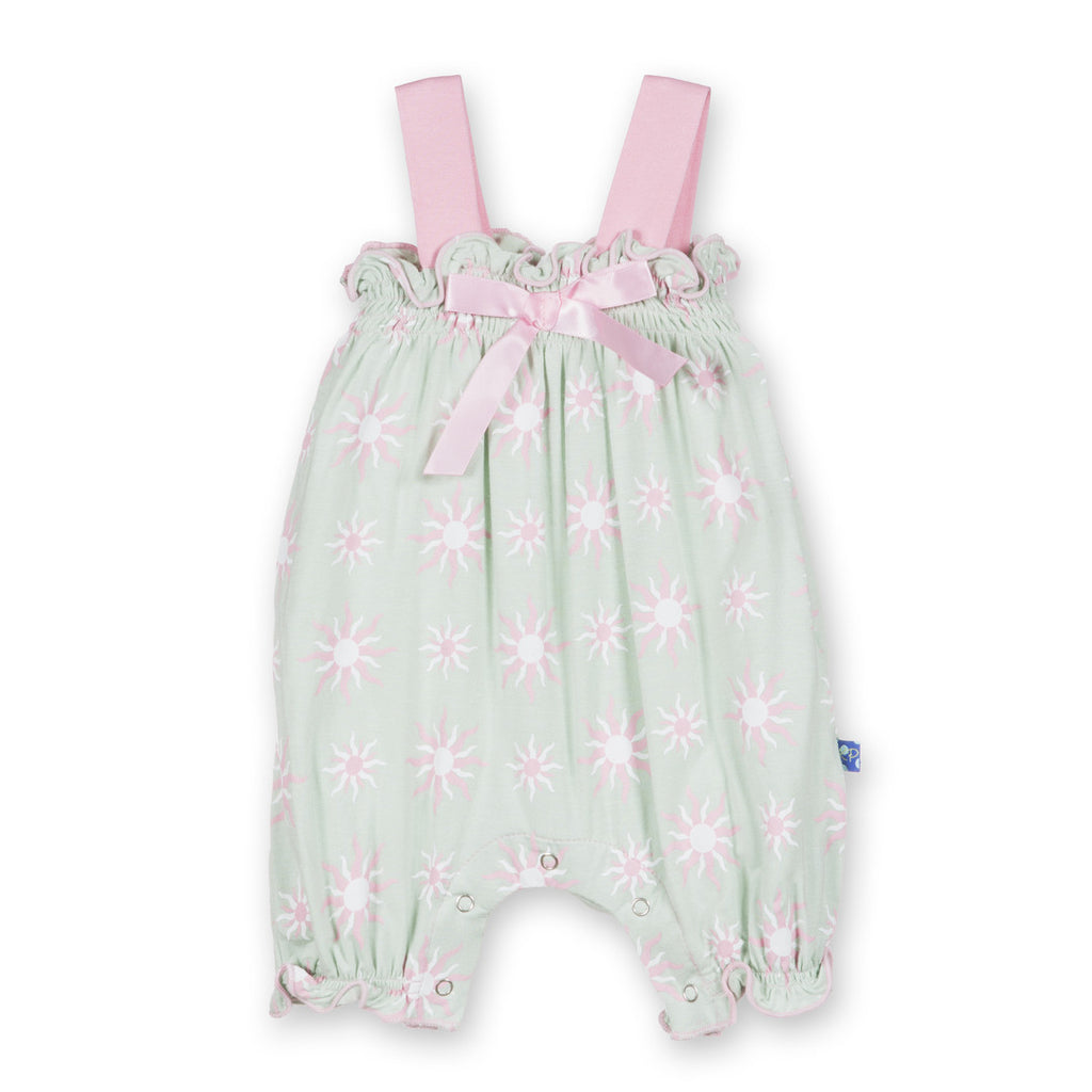 Kickee Pants Aloe Sunshine Gathered Romper with Bow