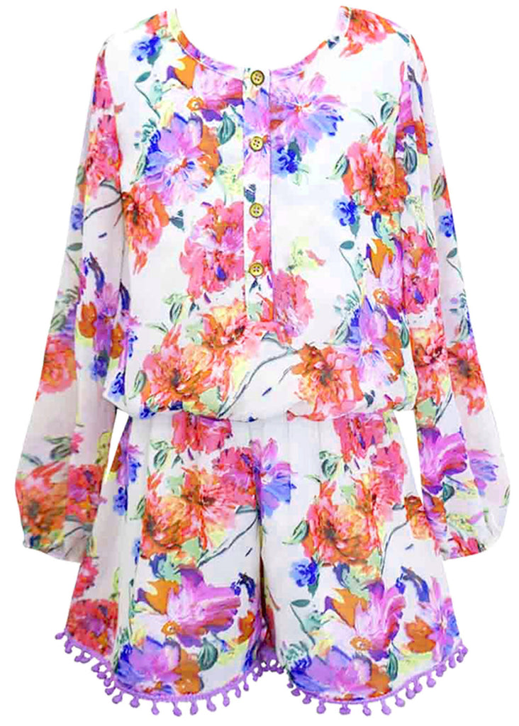 Truly Me Floral Romper with Pom Trim