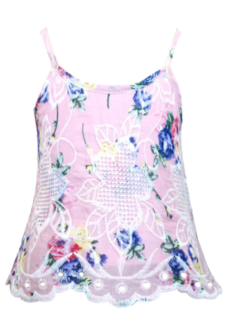 Baby Sara Floral Embroidered Strappy Top