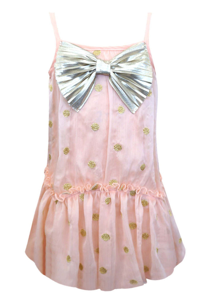 Baby Sara Gold Polka Dot Dress