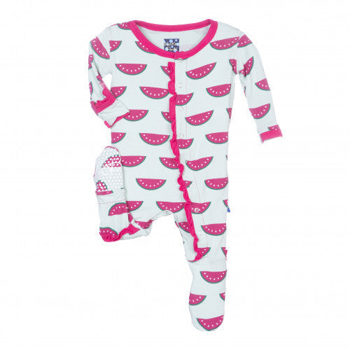 KIckee Pants Watermelon Print Muffin Ruffle Footie