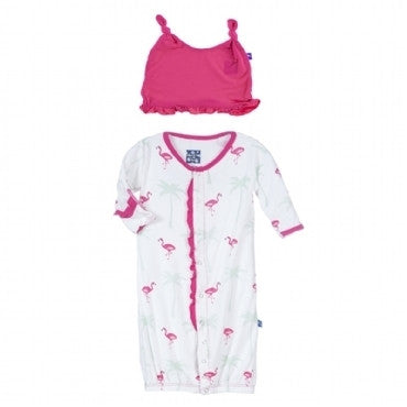 Kickee Pants Flamingo Ruffle Layette Converter Gown & Hat Set
