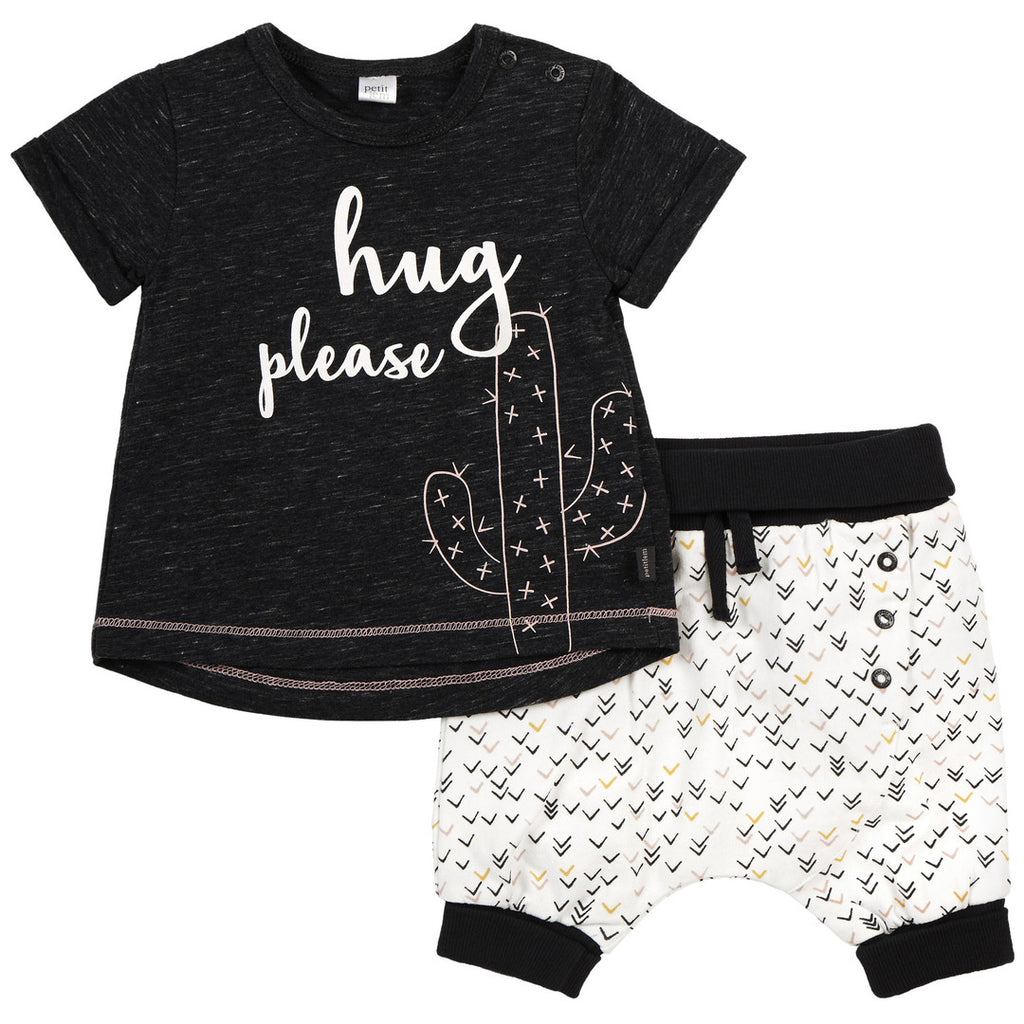 Petit Lem Hug Please Girl Cactus Short Set