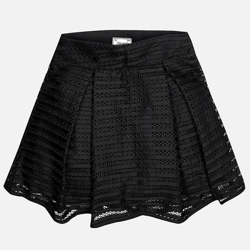 Mayoral Black Structured Lace Skirt