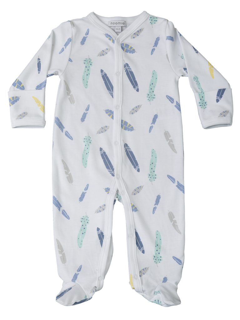 Noomie Blue Feathers Footie