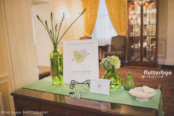 Wedding Guest book table inspiration lime green