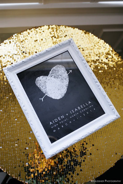 modern black and gold wedding guest book table inspiration