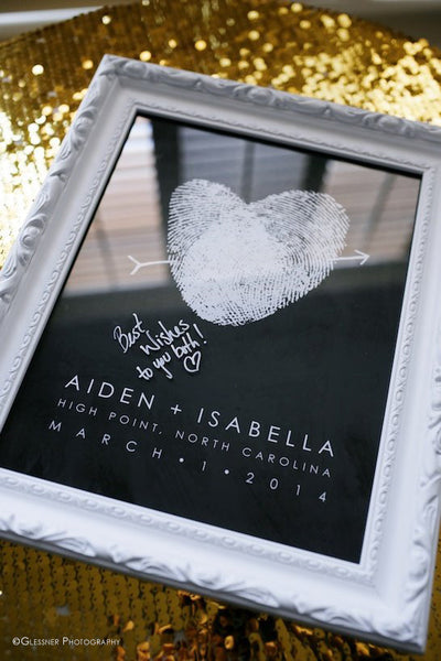Chalkboard Guest Book Alternative with white fingerprints