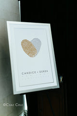 Gold and Silver Guest Book Alternative | Fingerprint Heart | Candice and Derek