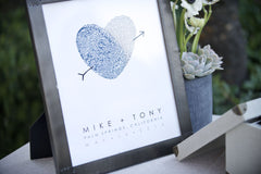 Guest Book Table Display Idea | Personalized Fingerprint Heart Mike and Tony | Gay Wedding