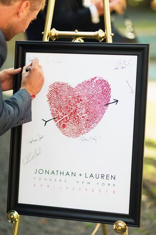 man signing wedding guest book alternative fingerprint sign