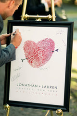 Classic Fingerprint Heart Wedding Guest Book Poster Alternative