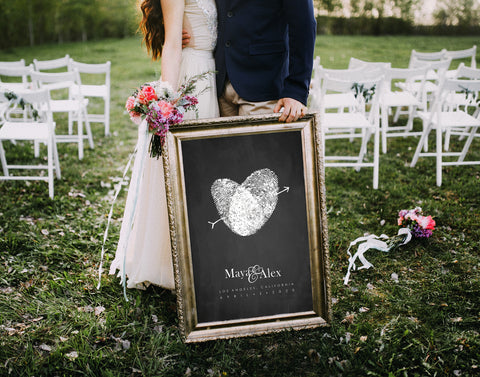 wedding guest book alternative black and white chalkboard sign