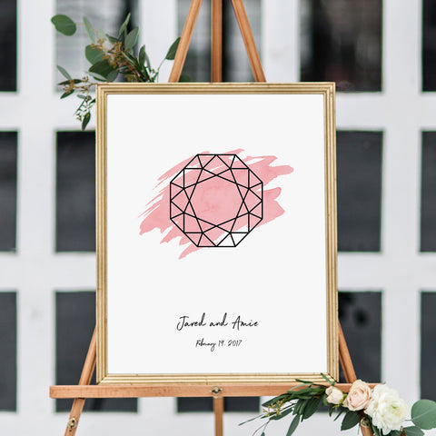 gemstone engagement ring shape wedding welcome sign and guest book alternative