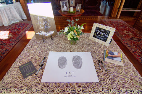 Guest book table design at vineyard wedding