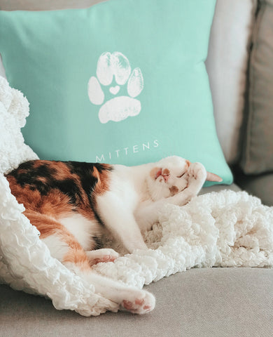 cat laying on personalized cat paw pillow