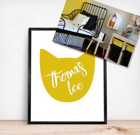 Personalized Kids Room Name Art Cat in Yellow and Black Kids Room Decor