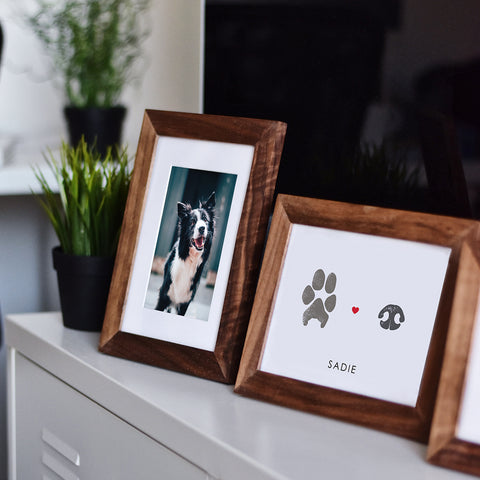 Paw and nose print personalized pet gift keepsake in frame