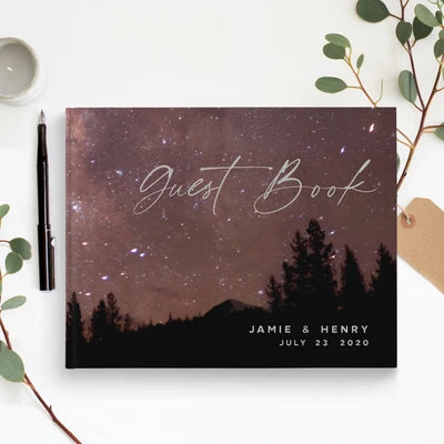 Night Sky Traditional Wedding Guest Book