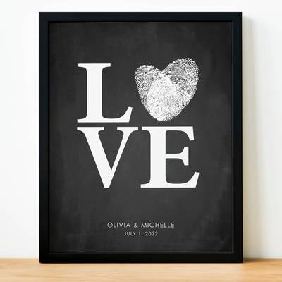 Fingerprint Wedding Guest Book Alternative ::: LOVE Chalkboard