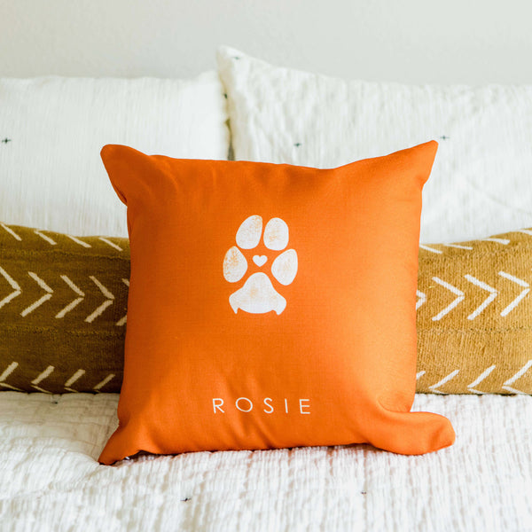 dog paw print custom pet gift personalized pillows view of front