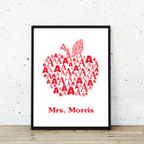 Red apple custom teacher gift class wall art