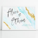 Blue and Gold Wedding Sign Personalized Canvas Agate Geode Style Watercolor Print