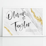 Geode Wedding Sign Watercolor Agate Reception Canvas